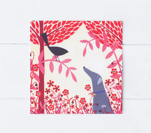 Autumn Greyhound And Blackbird Greeting Card