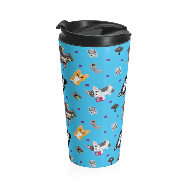 Gamer Corgi Stainless Steel Travel Mug