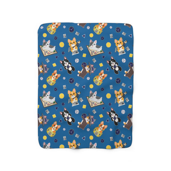 Dice Corgi Sherpa Fleece Blanket