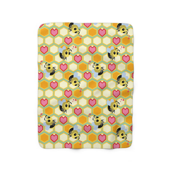 I Love Bees Sherpa Fleece Blanket