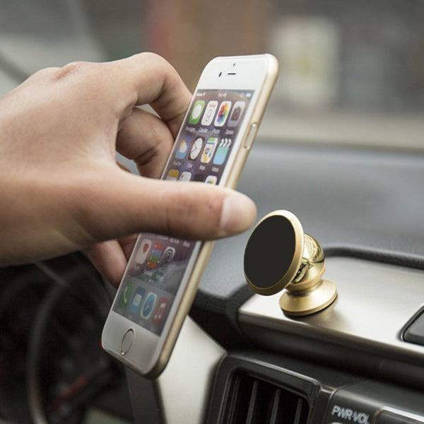 Camac Luxury 360 Car Mount Sticky Magnetic Stand Holder For Smart Phone iPhone,Gold