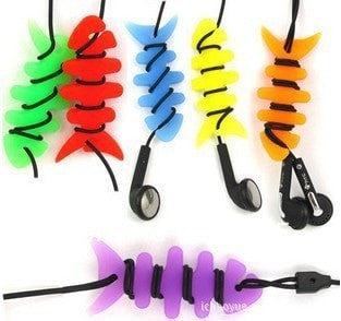 10Pcs Lot Wholesale Lovely Colourful Fish Bone Shaping Bobbin Winder Cable Bobbin Winder Earphone Cable Tidy
