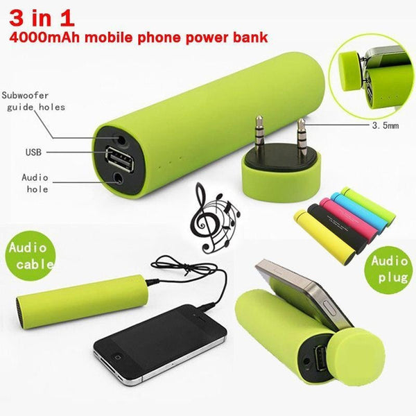 3 in 1 Power Bank  with Speaker Mobile Stand 4000MAH Power Bank with In-Built Speakers Stand Holder Charger For All Smartphones FREE AUX CABLE