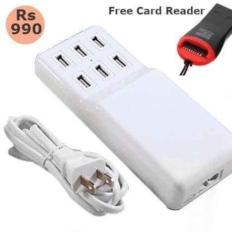 6 Port USB Desktop With Power Charger USB Wall Charger