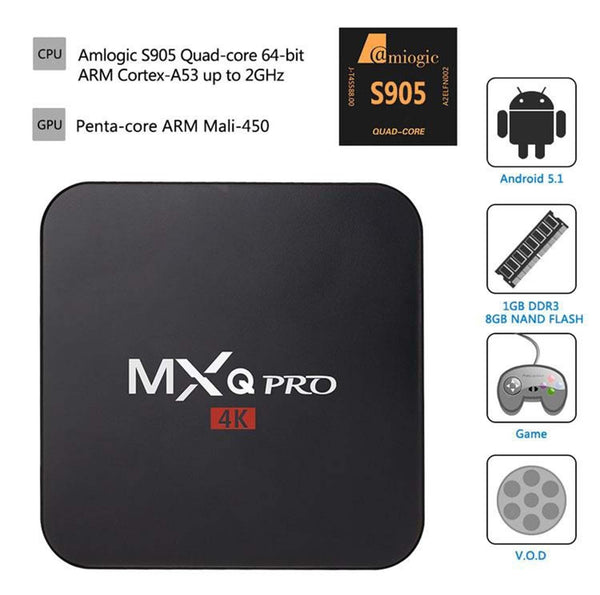 Anroid TV Box MXQ PRO 4K Android 5.1 Smart TV Box Quad Core Set Top Boxes XBMC Kodi Pre-installed WiFi 4K TV Box Media
