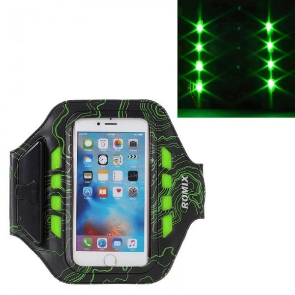 Arm Band ROMIX 3 Mode LED Lights Sports Armband Running Cycling Cover Case For 5.5 Inches iPhone 7 Plus 6/6s Plus Arm Band Holder Brassard Running