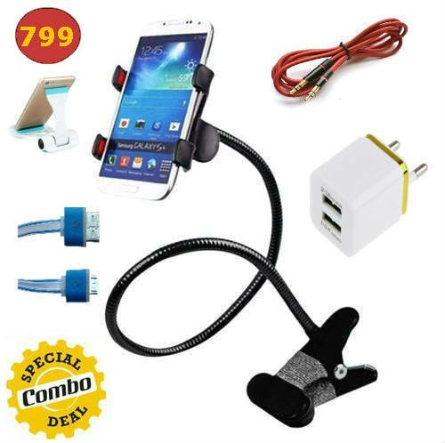 Mobile Bed Stand + Double Usb Wall Charger + 3.5mm jack stereo Cable + Led Visible Micro Usb Cable + Mobile Plastik Stand 5 IN ONE COMBO OFFER