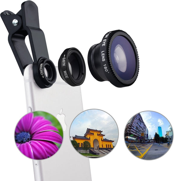 Universal 3 In 1 Clip-on Fish Eye Macro Wide Angle Mobile Phone Lenses Camera Kit for IPhone 4 5 6 Samsung S4 S5 LG Xiaomi Meizu