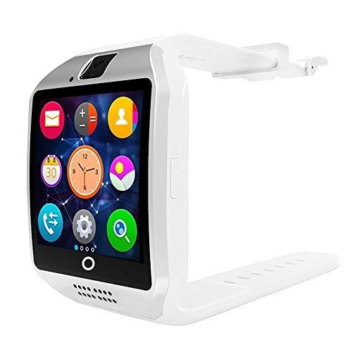 Bluetooth Smart Watch Q18 NFC Wristbands Smart Watch SIM card/Camera Built in Smartwatch Camera Smartwatch Support SIM TF Card Android Phone (White)