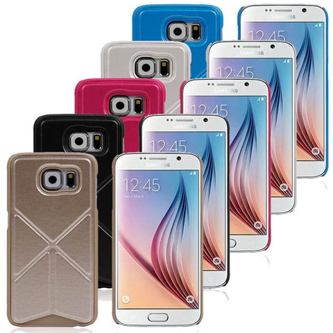Samsung Galaxy S6 Case Premium Leather Back Cover Wallet Case with Built-in Card Slots, Money Pockets and  Magnetic Stand