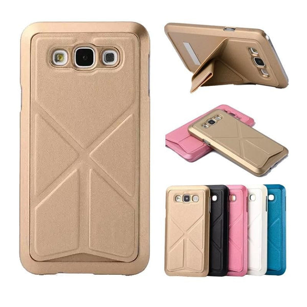 Galaxy A7 Case Premium Leather Back Cover Wallet Case with 3 Built Card Slots, Money Pockets & Magnetic Closure Cover Case for Samsung Galaxy A7