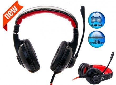 Enter Headphone with Mic EH-88 Wired Headphones (Red, Over the Ear)