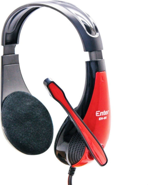Enter Headphone with Mic EH-95 Wired Headphones (Red, On the Ear)