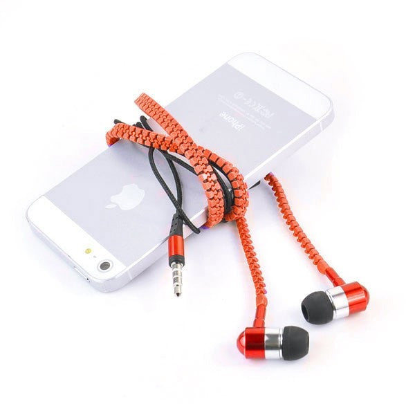 Headset In-Ear Metal Zipper Earphones with Mic 3.5mm Jack Earbuds for MP3 / MP4 / Laptops / Computers / all SmartPhones Orange