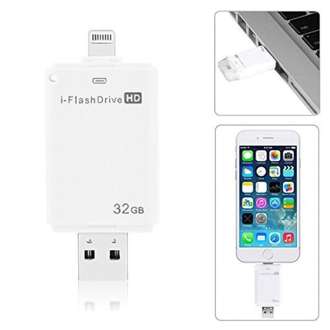 i-Flash Drive USB Micro SD Memory  Card Reader HD 32GB with dual storage between iOS and Mac/PC - Apple licensed for iPod/iPhone/iPad