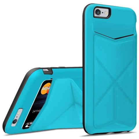 iPhone 6 Case Back Cover Wallet Case with 3 Built-in Card/ID Credit Card Slots, Money