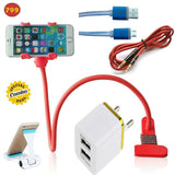 Epresent RED Mobile Bed Stand + Double Usb Wall Charger + 3.5mm jack stereo Cable + Led Visible Micro Usb Cable + Mobile Plastik Stand 5 IN ONE COMBO OFFER