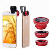 Epresent Red Universal 3 In 1 Clip-on Fish Eye Macro Wide Angle Mobile Phone Lenses Camera Kit for IPhone 4 5 6 Samsung S4 S5 LG Xiaomi Meizu