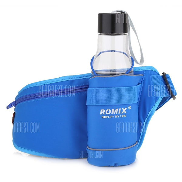 Running waist band for mobile phones and water bottle ROMIX Sports Waist Bag  -  BLUE