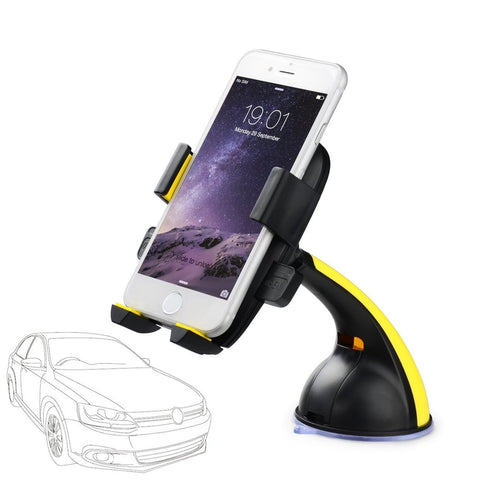 Universal Car Mount Holder Phone Holder For All Smartphones - Yellow