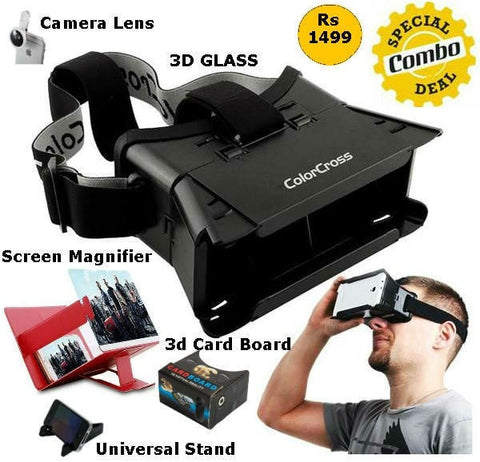 Virtual 3d Glass + 3d Card Board + Screen Magnifer + Camera Lens + Universal Mobile Stand 5 IN ONE COMBO OFFER