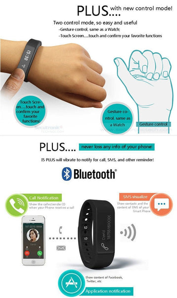 Smart Bracelet i5 Plus Waterproof Smart Bracelet Bluetooth 4.0 Pedometer Tracking Calorie Health Fitness Tracker Android IOS