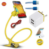 Epresent YELLOW Mobile Bed Stand + Double Usb Wall Charger + 3.5mm jack stereo Cable + Led Visible Micro Usb Cable + Mobile Plastik Stand 5 IN ONE COMBO OFFER