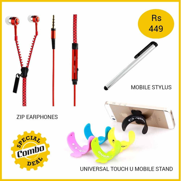 ZIP Earphones + Stylus + Touch U Universal Mobile Stand Mobile Accessories Combo