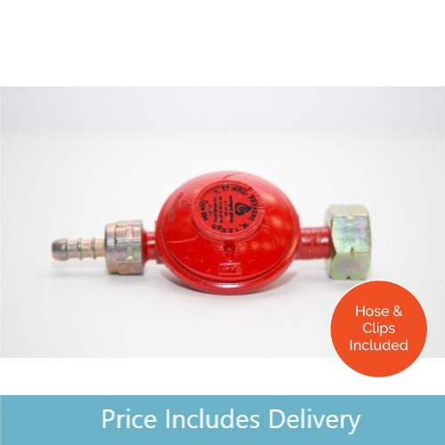 Low Pressure Propane Regulator with Clips and Hose for Propane (red) cylinders