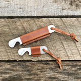 Leather Wrapped Bottle Opener - Stainless Steel