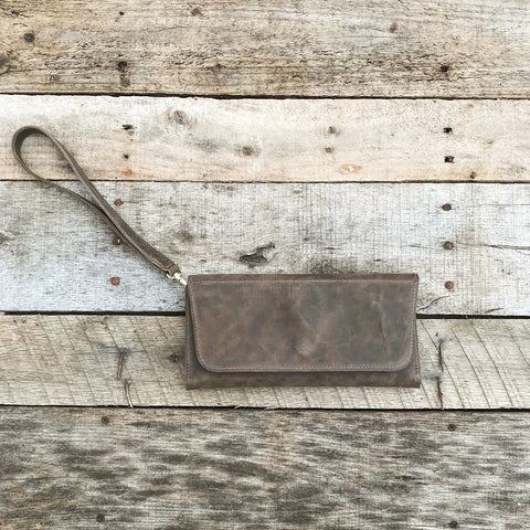 Leather Clutch - Vintage Grey