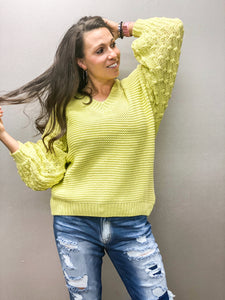 Paige Popcorn Knit Sleeve Sweater