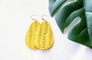 Braided Yellow Earrings