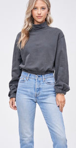 Mock Neck Terry Sweatshirt