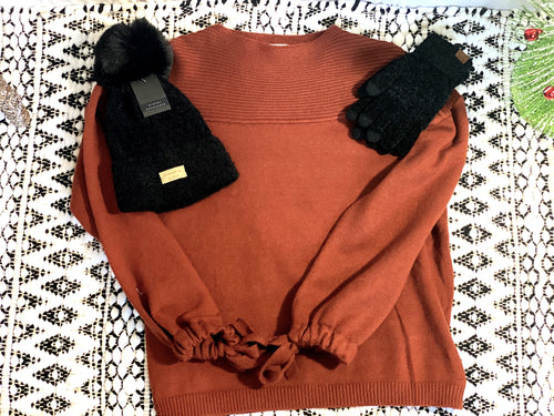 Dark Rust Drawstring Sweater