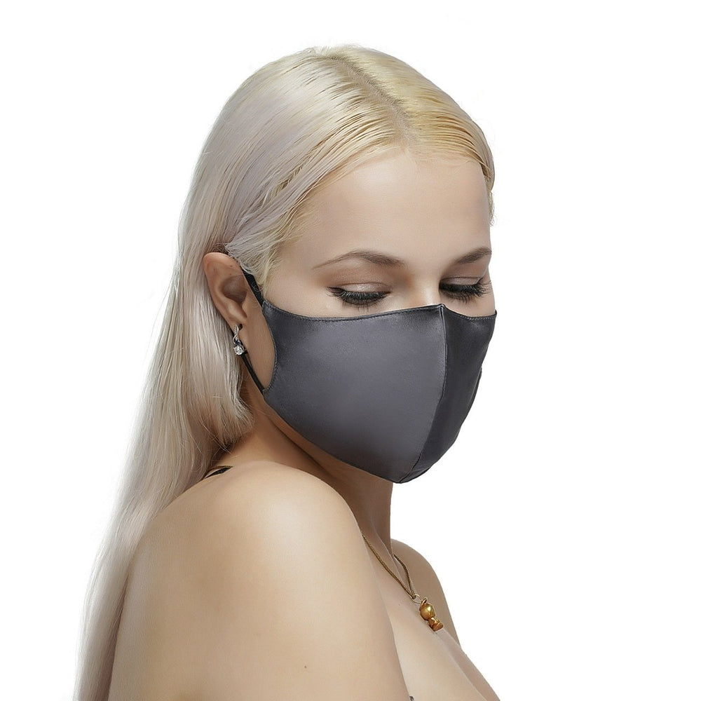 100% Silk Face Mask with Filter Pocket-Gray Vere
