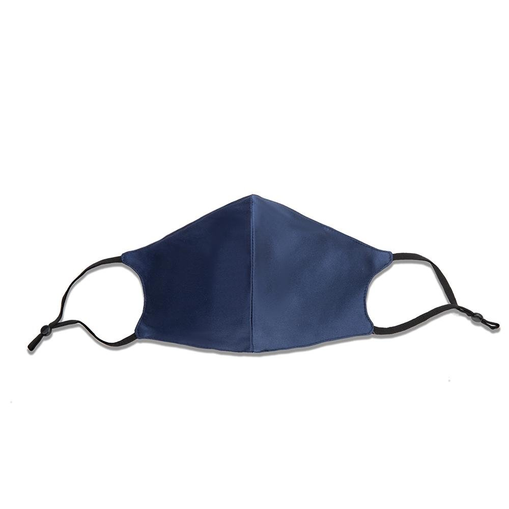 100% Silk Face Mask with Filter Pocket-Navy Vere