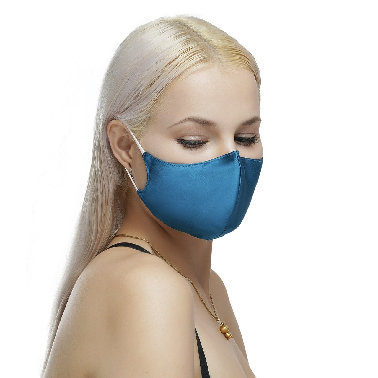 100% Silk Face Mask with Filter Pocket-Turquoise Vere