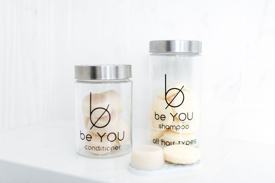 be YOU Conditioner Bar STARTER PACK WITH BRANDED GLASS JAR (12 bars)