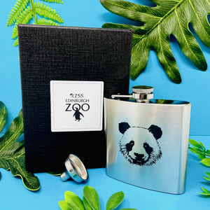 Edinburgh Zoo 6oz S/Steel Hip Flask Panda Face Boxed