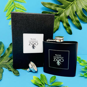 Edinburgh Zoo 6oz Black Hip Flask Logo Boxed