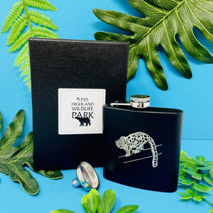 HWP 6oz Black Hip Flask Snow Leopard