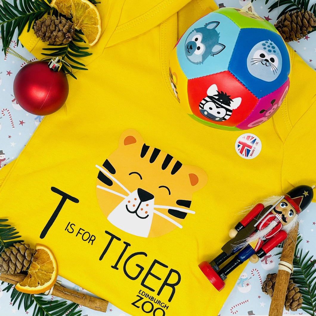 Tiger Body Suit 12-18 Months and Animal Soft Ball Bundle