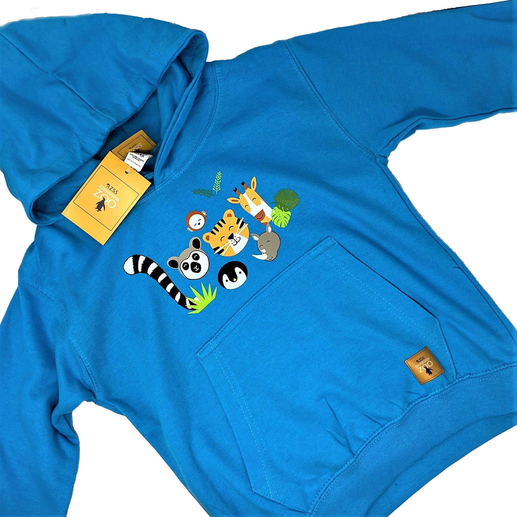 Child's Animal Faces Hoodie - Blue