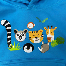 Load image into Gallery viewer, Child's Animal Faces Hoodie - Blue