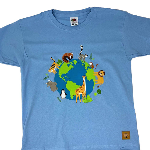 Child's Animals Around the World T-shirt - Sky Blue