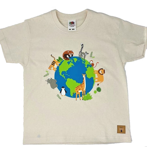 Child's Animals Around the World T-shirt - Natural