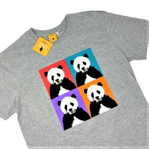 Men's Panda Pop Squares Design T-shirt - Grey