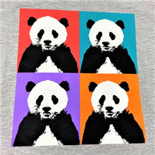 Load image into Gallery viewer, Men's Panda Pop Squares Design T-shirt - Grey