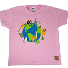 Load image into Gallery viewer, Child's Animals Around the World T-shirt - Pink